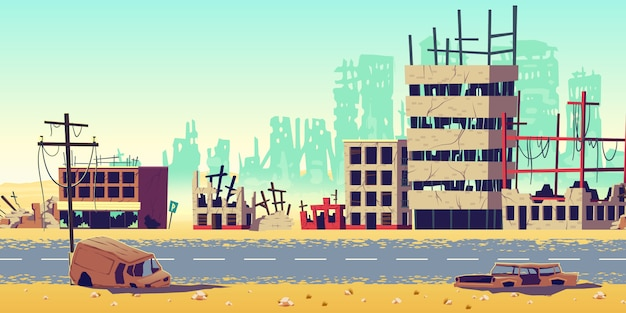 Stadt in der kriegsgebietskarikatur-vektorillustration