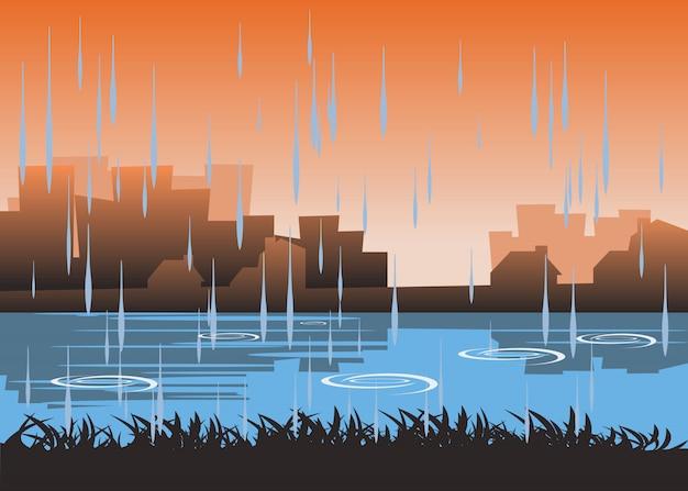 Stadt in der regenzeitvektorillustration