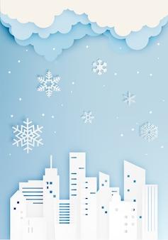 Stadt in der wintersaison mit papierkunstart-vektorillustration