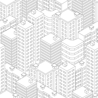 Stadt in isometrischer ansicht. nahtloses muster mit häusern. linearer stil. schwarz-weißer hintergrund. moderne skyline der stadt. vektor-illustration.