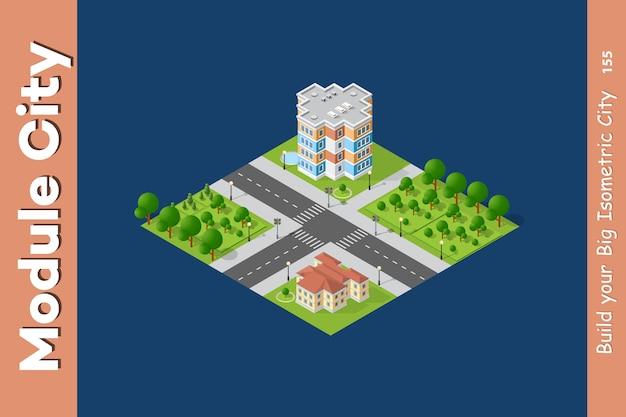 Stadt isometrisch eingestellt