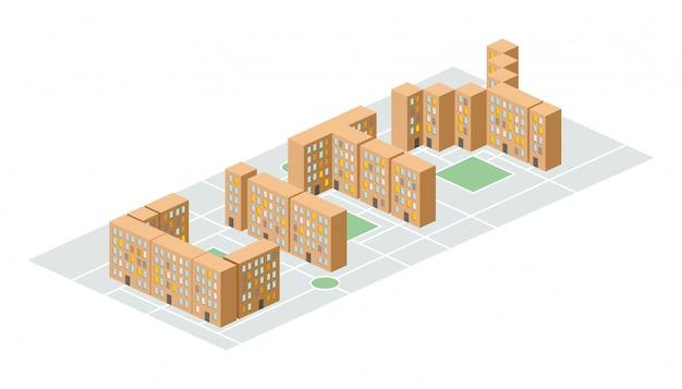 Stadt. isometrische gebäude in form von buchstaben. hofbewohner in slums. neuer schlafbereich am stadtrand