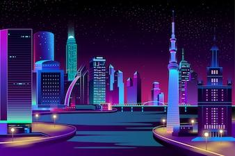 Stadt, Megapolis am Fluss in der Nacht.