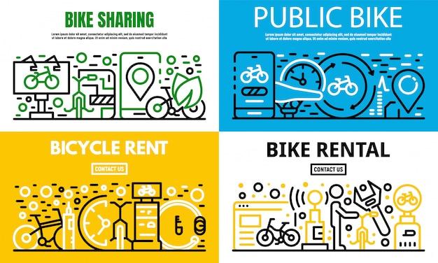 Stadt mieten ein fahrrad-banner-set, umriss-stil