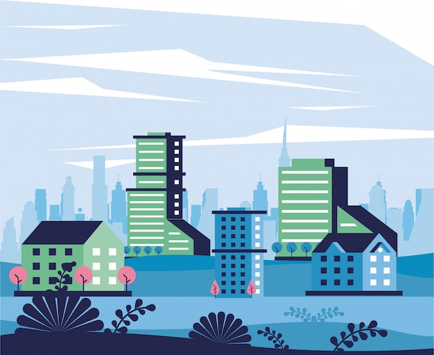 Stadt minimaler stadtbildszenenrahmen