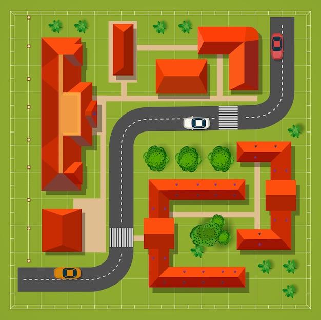 Stadt mit häusern mit der draufsicht der straßenautos und -bäume