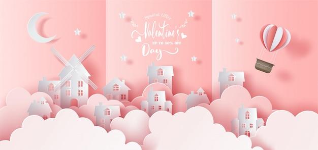 Stadt mit korb eines luftballons im himmel, knallen oben karte, papierkunstart