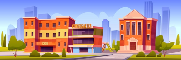 Stadt mit schule, kindergarten und universität