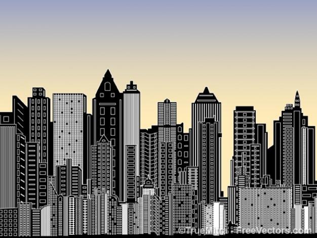 Stadt mit vielen gebäuden