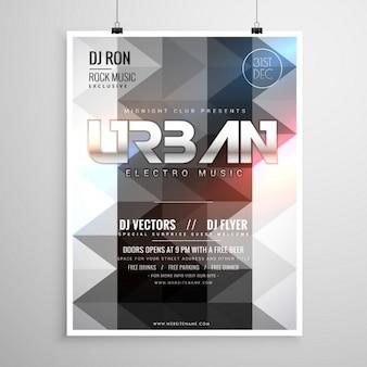 Stadt-musik-party flyer vorlage mit abstrakten geometrischen formen und leuchtenden lichter