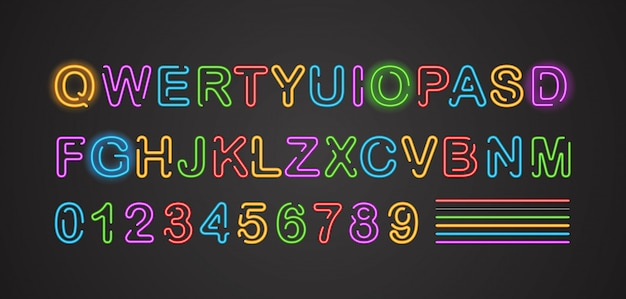Stadt-neon-alphabet-vektor-sammlung. englische buchstaben und ziffern im neonstil