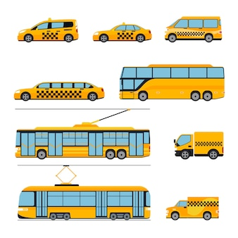 Stadt öffentliche verkehrsikonen flache satz. stadtfahrzeuge. zug und bus, straßenbahn und auto,