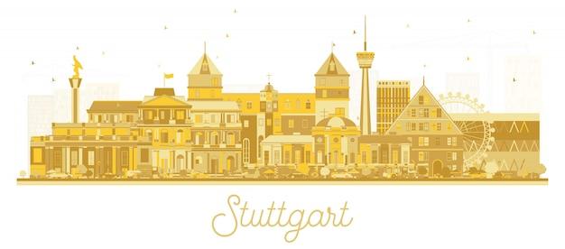 Stadt-skyline-schattenbild stuttgarts deutschland mit den goldenen gebäuden lokalisiert auf weiß.