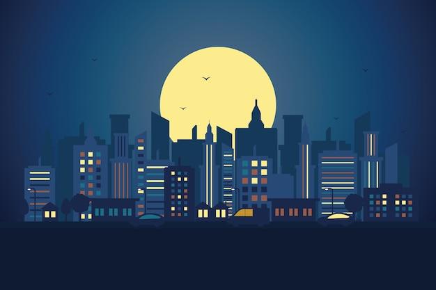 Stadt-stadtbild-skyline-landschaftsgebäude-straßen-design-illustration