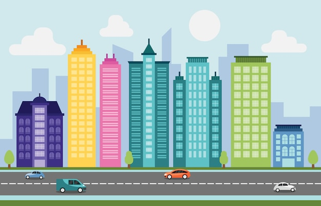Stadt-stadtbild-skyline-markstein-gebäude-verkehrs-straße