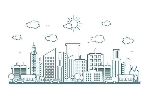 Stadt-stadtbild-skyline-straßen-straßen-linie design illustration