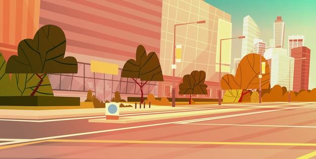 Stadt-straßen-wolkenkratzer-gebäude-ansicht-modernes stadtbild-leeres stadtzentrum