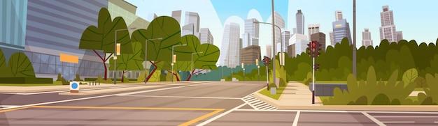 Stadt-straßen-wolkenkratzer-gebäude-straßen-ansicht-modernes stadtbild-leeres stadtzentrum