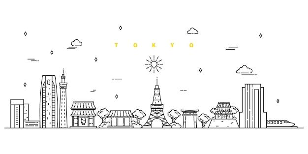 Stadt tokio. moderner flacher linienlandschaftsvektor. stadtlinienkunstillustration mit gebäude, turm, wolkenkratzern.