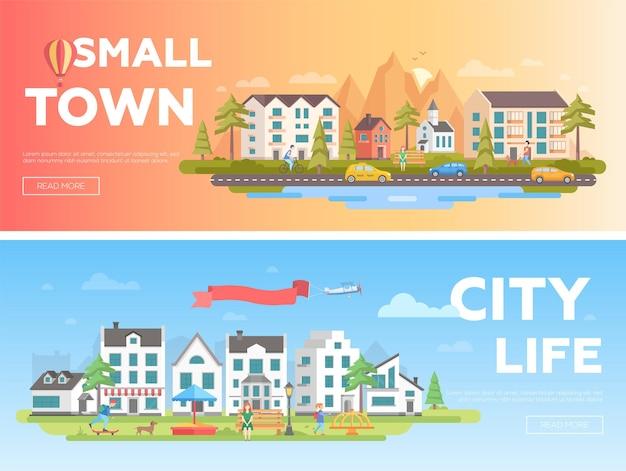 Stadt und stadt - moderne flache vektorgrafiken mit platz für text. zwei varianten von stadtlandschaften mit gebäuden, spielplatz, menschen, bergen, hügeln, kirche, bänken, laternen, bäumen