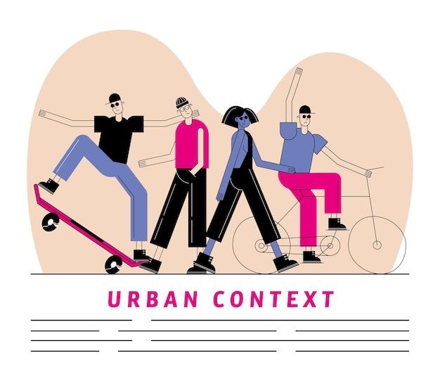Stadt- und stadtmenschen mit skateboard und fahrrad in modernem und stilvollem stil