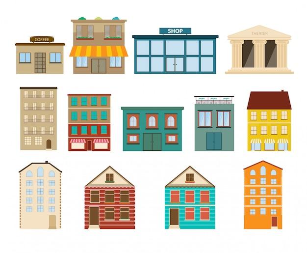 Stadt- und vorortgebäudeikonen auf weißem hintergrund