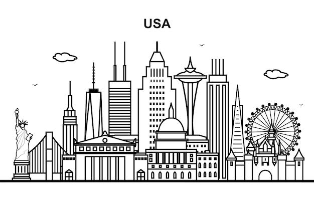Stadt vereinigte staaten amerika in der usa-stadtbild-skyline-linie