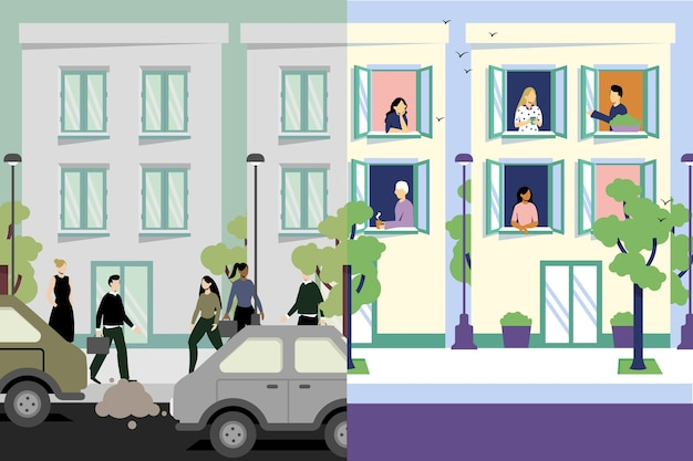 Stadt vor und nach covid19