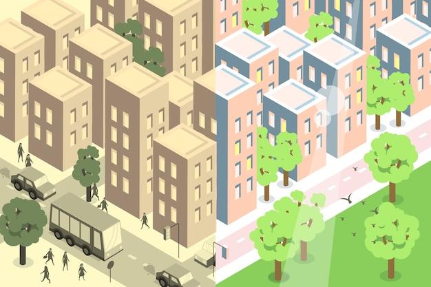 Stadt vor und nach dem coronavirus