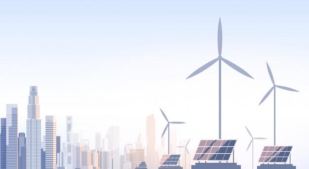 Stadt-wolkenkratzer-ansicht stadtbild-wind-tribüne-solarbatterie-erneuerbare energiequelle