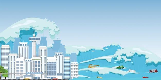 Stadt zerstört durch tsunami-wellen.