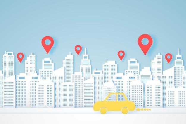Stadtansichten, papiergebäude, gelbes auto zum ziel, standortmarkierungen