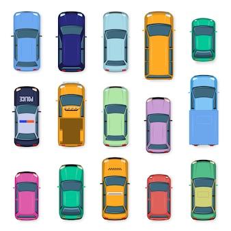 Stadtauto draufsicht. stadtverkehrsautodach, straßenfahrzeugtaxi, polizei, kleinwagen und jeep über der ansicht. autotransport-illustrationssatz. fahrzeuge von oben