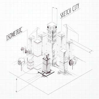 Stadtbau-skizze isometrisch