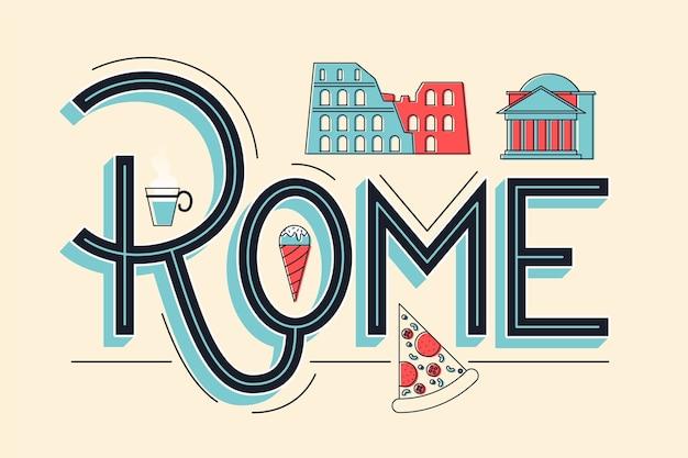 Stadtbeschriftung rom-konzept Premium Vektoren