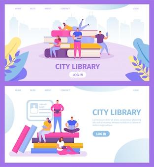 Stadtbibliothek mit büchern und kleinen leuten, die texbooks lesen und studieren webvorlagen setzen cartoonillustration für bildung online.