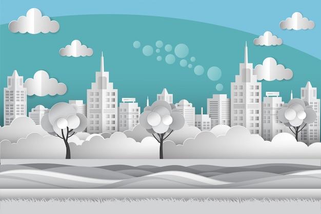 Stadtbild am flussufer