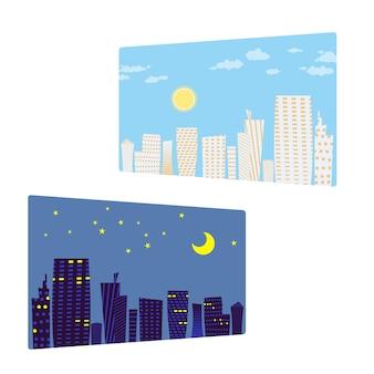 Stadtbild bei tag und nacht