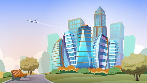 Stadtbild cartoon hintergrund. panorama der modernen stadt mit hohen wolkenkratzern und park, im stadtzentrum gelegen