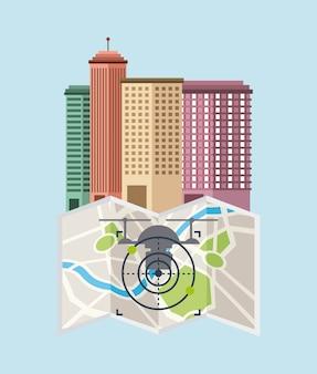 Stadtbild gebäude mit drohnen fliegen