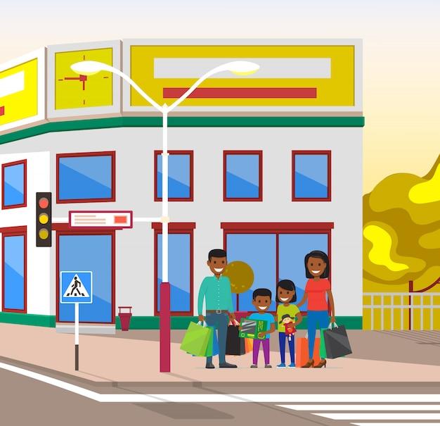Stadtbild-leute-familie in den stadt-ampeln