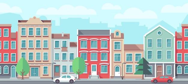 Stadtbild mit alten wohnhäusern.