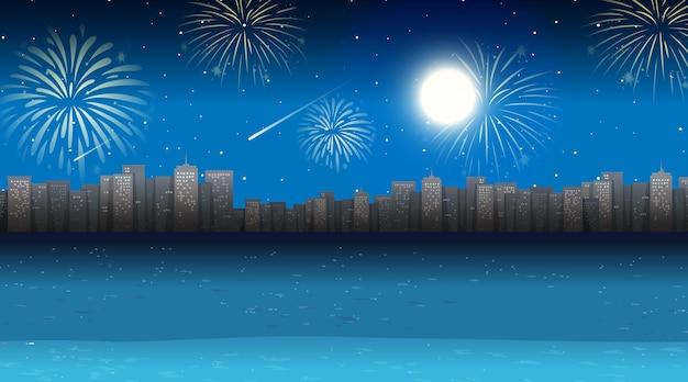 Stadtbild mit feierfeuerwerksszene