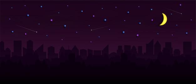 Stadtbild mit gruppe wolkenkratzern in der nacht.