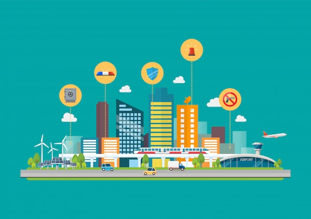 Stadtbild mit infrastruktur-transport- und sicherheitssymbolen