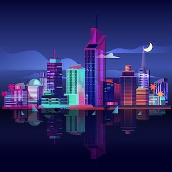 Stadtbild mit modernen gebäuden und wolkenkratzern