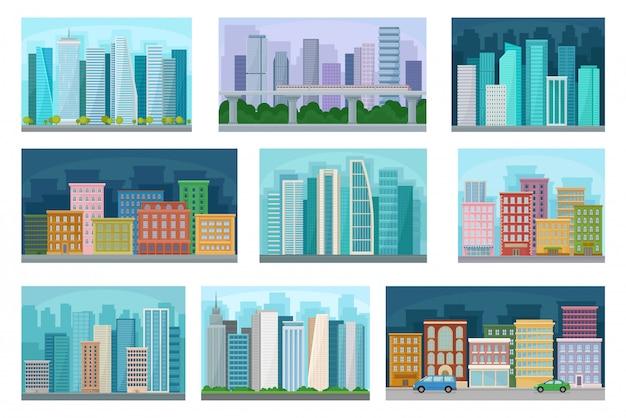 Stadtbild mit wohn- und öffentlichen gebäuden, wolkenkratzern bei tag und nacht, stadtpanorama, stadtlandschaft illustration