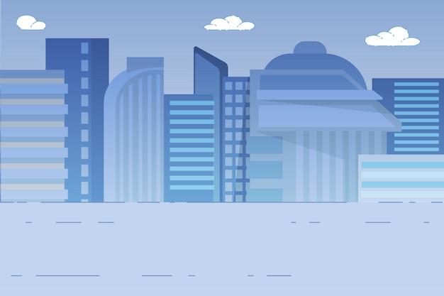 Stadtbild mit wolkenkratzern, häuser außenansicht