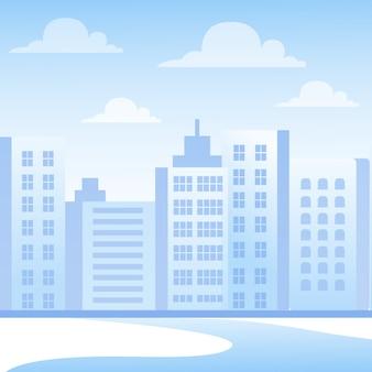 Stadtbild mit wolkenkratzern, hausaußenansicht