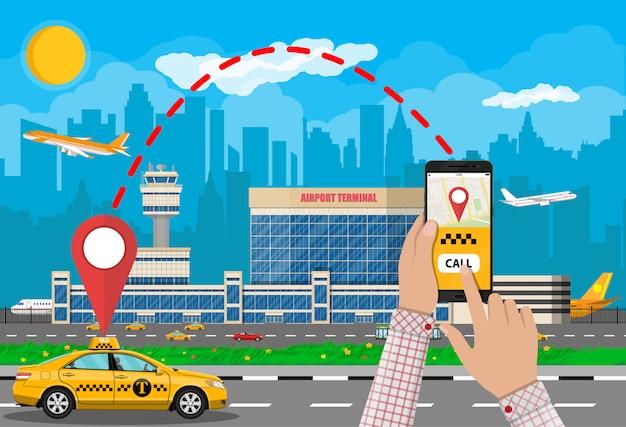 Stadtbild und flughafen mit taxi, telefon taxi app